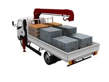 Caminhão branco pequeno com transporte dos materiais de construção 3d para não render no fundo branco nenhuma sombra ilustração stock