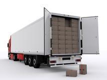 Caminhão com reboque aberto Fotografia de Stock