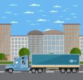 Caminhão comercial do frete na estrada na cidade ilustração do vetor