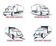 Caminhão da carga e vetor do logotipo do serviço de entrega ilustração royalty free