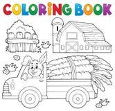 Caminhão da exploração agrícola do livro para colorir com cenouras ilustração royalty free