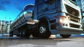 Caminhão da gasolina perto do óleo, planta da gasolina Animação 4K realística