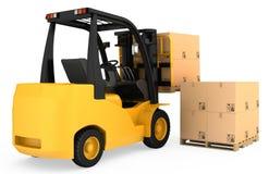 Caminhão de empilhadeira com as caixas de cartão em de madeira Imagem de Stock Royalty Free