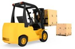 Caminhão de empilhadeira com as caixas de cartão em de madeira Imagens de Stock