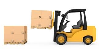 Caminhão de empilhadeira com as caixas de cartão em de madeira Imagens de Stock Royalty Free