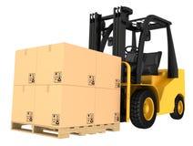 Caminhão de empilhadeira com as caixas na pálete Imagens de Stock