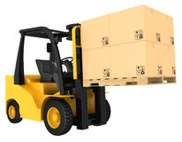 Caminhão de empilhadeira com as caixas na pálete Fotografia de Stock