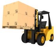 Caminhão de empilhadeira com as caixas na pálete Fotos de Stock Royalty Free