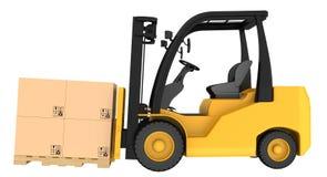 Caminhão de empilhadeira com as caixas na pálete de madeira Fotografia de Stock