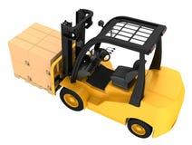 Caminhão de empilhadeira com as caixas na pálete de madeira Imagens de Stock Royalty Free