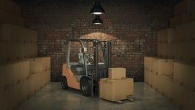 Caminhão de empilhadeira em umas caixas de cartão da carga do armazém ou do armazenamento 3d Fotografia de Stock
