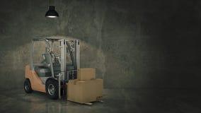 Caminhão de empilhadeira em umas caixas de cartão da carga do armazém ou do armazenamento 3d Fotografia de Stock Royalty Free