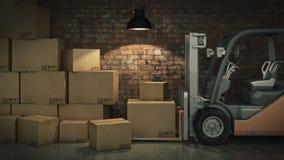 Caminhão de empilhadeira em umas caixas de cartão da carga do armazém ou do armazenamento 3d Imagens de Stock