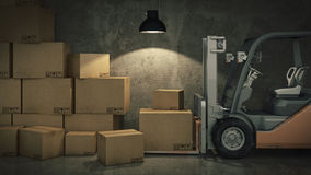 Caminhão de empilhadeira em umas caixas de cartão da carga do armazém ou do armazenamento 3d Foto de Stock Royalty Free