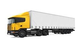 Caminhão de entrega amarelo da carga ilustração stock
