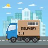 Caminhão de entrega com caixa de cartão Fotografia de Stock Royalty Free