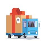 Caminhão de entrega com presente Conceito do transporte Ilustração do vetor Fotos de Stock Royalty Free