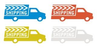 Caminhão de entrega com sinal do transporte Ilustração do Vetor