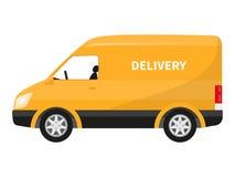 Caminhão de entrega liso do amarelo dos desenhos animados do ícone do vetor Imagens de Stock