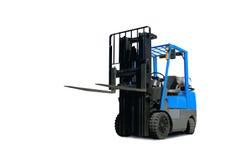 Caminhão de Fork-Lift azul foto de stock royalty free