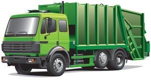 Caminhão de lixo verde Fotografia de Stock Royalty Free
