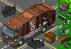 Caminhão de lixo waste húmido isométrico ilustração royalty free