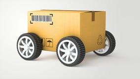 Caminhão de mão com caixa de cartão e rodas - 3D de alta qualidade Foto de Stock Royalty Free
