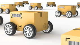 Hand Truck with Cardboard Box and Wheels - High Quality 3D 3D illustration Stock Footage