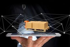 Caminhão de pálete e carboxes com sistema da conexão de rede - 3d com referência a Imagens de Stock Royalty Free