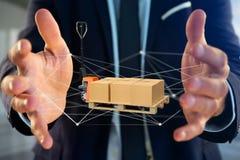 Caminhão de pálete e carboxes com sistema da conexão de rede - 3d com referência a Foto de Stock Royalty Free