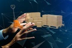 Caminhão de pálete e carboxes com sistema da conexão de rede - 3d com referência a Imagem de Stock Royalty Free