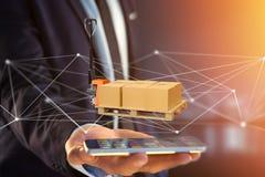 Caminhão de pálete e carboxes com sistema da conexão de rede - 3d com referência a Fotografia de Stock