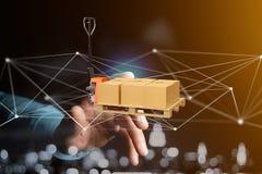 Caminhão de pálete e carboxes com sistema da conexão de rede - 3d com referência a Fotos de Stock