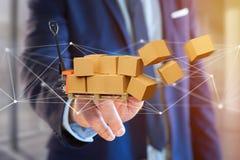 Caminhão de pálete e carboxes com sistema da conexão de rede - 3d com referência a Imagens de Stock