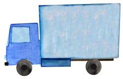 Caminhão de reboque azul da entrega da aquarela no fundo branco Ilustra??o da quadricula??o para o projeto ilustração royalty free