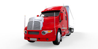 Caminhão de reboque vermelho isolado no fundo branco Fotos de Stock Royalty Free