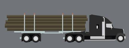 Caminhão de registo Transporte de madeira Ilustração do vetor Fotografia de Stock Royalty Free
