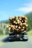 Caminhão de registro na estrada da montanha foto de stock