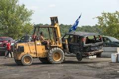 Caminhão destruído fora do derby da demolição Imagens de Stock