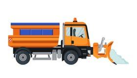Caminhão do arado de neve no estilo liso isolado no branco fotos de stock royalty free
