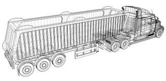 Caminhão do caminhão basculante no fundo transparente, no transporte da logística e no negócio industrial de transporte de frete  ilustração royalty free