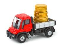 Caminhão do brinquedo com dinheiro Imagens de Stock Royalty Free