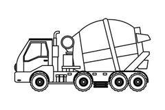 Caminhão do cimento do veículo da construção em preto e branco ilustração royalty free