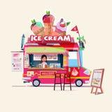 Caminhão do gelado com vendedor bonito conceito do caminhão do alimento - ilustração stock
