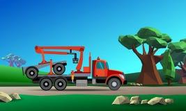 Caminhão do guindaste para a madeira ilustração stock