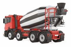 Caminhão do misturador de cimento isolado para trás ilustração royalty free