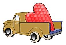 Caminhão do ouro com Valentim enorme Imagens de Stock
