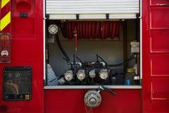 Caminhão do sapador-bombeiro com bastão do bombeiro após um fogo, fora fotografia de stock royalty free
