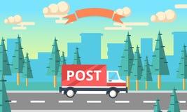 Caminhão do vetor da entrega do cargo Camionete do serviço de entrega Fotos de Stock Royalty Free