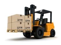 Caminhão e caixa de empilhadeira Foto de Stock Royalty Free
